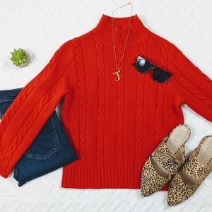 J Crew Cable Knit Red Sweater